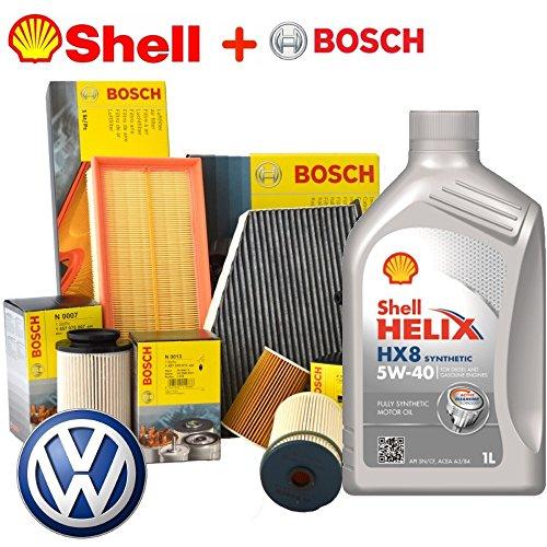 Tagliando oil Shell Helix Kit 5 W40 5lt 4 Bosch filters (1457429192 or f026407023, 1457070008, 1987429404, 1987432397)