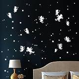 122 Stk. Leuchtaufkleber Einhörner und Elfen (leuchten im Dunklen) Leuchtsticke Sterne Leuchtpunkte im Set Wandtattoo-Loft® / Leuchtsticker / Fluoreszierende leuchtende Sticker für das Kinderzimmer