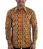 Comycom Chemise Style rétro années 70 Motifs fête Drops Turquoise - Orange - XL