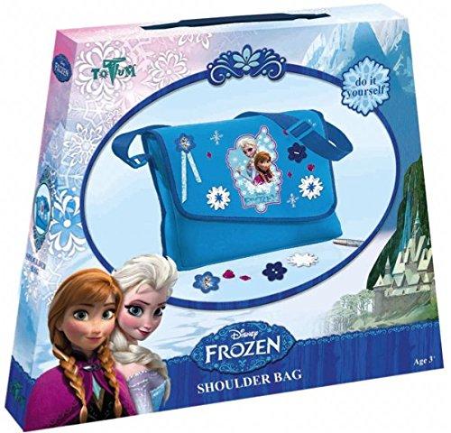 Frozen Bastel-Set: Umhänge-Tasche mit Anna und Elsa-Druck – zum Selber Verzieren mit Steinen, Knöpfen, Glitzer-Leim, Blumen und Sternen, Geschenk für Mädchen (Anna Tasche)