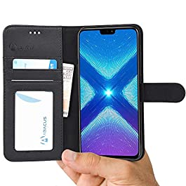 Honor 8X Case by Abacus24-7®, Black PU Leather Wallet with Flip Cover, Credit Card Pockets and Stand Compatible with Huawei Honor 8X Phone