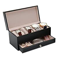 Pasutewel Double Layers 4 Grids Watch Box Jewelry Display Case Leather Tray Organizer (Black)
