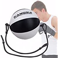 PU Doppelendball Boxen, SGODDE Boxbirne Drehwirbel SpeedBall MMA Punching-Ball inkl. elastischen Spanngurten