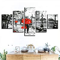 BOMDOW Canvas Painting Wall Art Prints 5 Pieces Red Umbrella Lover Poster London Street Rain View Pictures Living Room Retro Home Decor