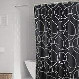 TIANYULIAN Bad Dusche wasserdicht Duschvorhang,schwarzer Ring Mehltau leicht zu Duschvorhang,80 * 200 Sorghum Haken zu löschen