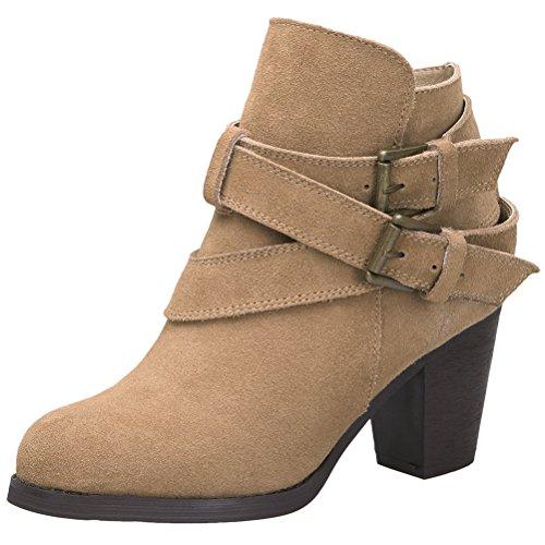 MatchLife Damen Hochferse Reißverschluss Winter Schuhe Booties Aprikose