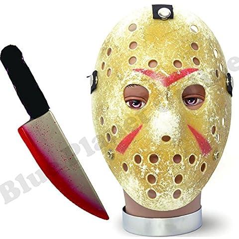 Blue Planet Fancy Dress ® Painted Hockey Mask & Bloody Knife Halloween Fancy Dress Costume