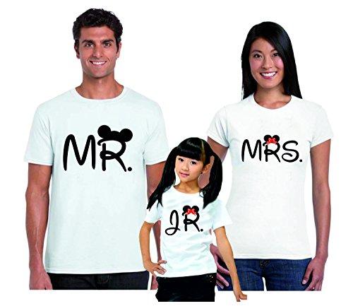 Puzzletee tris t-shirt famiglia madre, padre, figlia mr, mrs, jr. - mister - miss - junior - festa del papa' - festa della mamma - magliette divertenti per tutta la famiglia - in cotone by