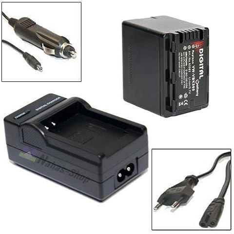 Akku + Ladegerät für Panasonic VW-VBK360 VW-VBK 360 HDC-SD66, HDC-SD80, HDC-SD90, HDC-SD99