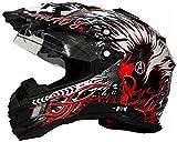Motorradhelm MX Enduro Quad Helm Schwarz Rot mit Visier und Sonnenblende Gr. XL
