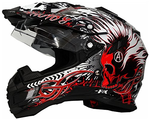 M 57-58 cm MX Motocross Helm mit Sonnenblende Enduro-Helm Quad-Helm Broken Head made2rebel Cross-Helm gr/ün mit Visier
