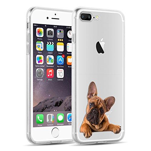 iPhone 8, iPhone 7 Hülle   JAMMYLIZARD Transparente Schutzhülle Sketch Back Cover Case aus Silikon, Mario Brüder BULLDOGGE