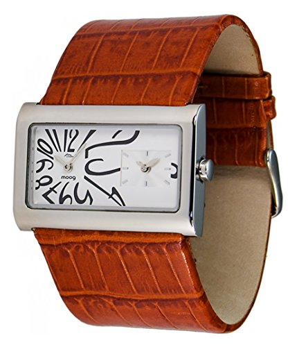 Moog Paris Stars Women's Watch with White Dial, Brown Strap in Genuine Leather - M41612-012