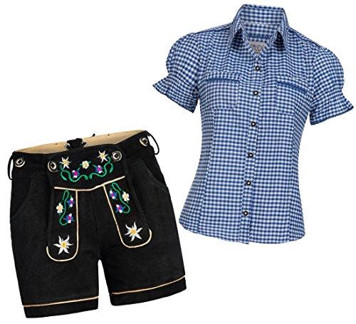 Damen Shorts schwarz kurz bunte Blümchen Stickerei + Träger + Trachtenbluse Mala 40 Blau Weiß Kariert 40