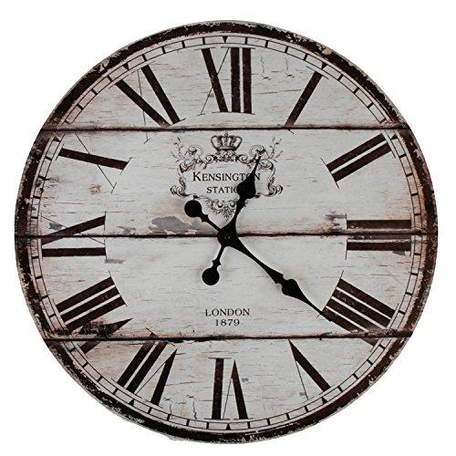 XXL Wanduhr Uhr Ø 58 cm Shabby Vintage Motivuhr Küchenuhr (London)