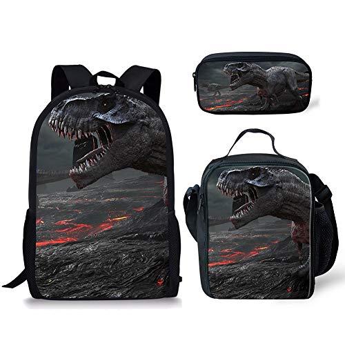 POLERO Polyester Rucksack, Hochschule Bookbag für Teen Mädchen/Frauen, Leichte Schultertasche, Laptop-Tasche 3 PCS (t-rex)