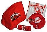 4 tlg. Reiseset Cars Decke Gurtpolster - Nackenrolle Tasche Rucksack Kissen Disney Mc Queen McQueen Nackenschutz / Gurtschutz