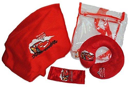 Preisvergleich Produktbild 4 tlg. Reiseset Cars Decke Gurtpolster - Nackenrolle Tasche Rucksack Kissen Disney Mc Queen McQueen Nackenschutz / Gurtschutz