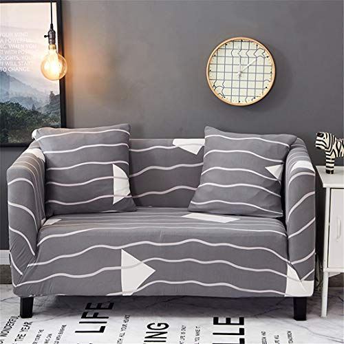 SHFOLSFH 1/2/3/4 Seater Flexible Printing Sofa Cover Elastic Stretch Couch Cover Love-Seat Sofa Cover Home Decoration Cushion Pillow Case B6002 2 seat 140-180cm (Sofa Love Seat Cover Rot)
