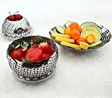 eTijaarath Stainless Steel Collapsilble Steamer & Multipurpose Basket Fruits Vegetables, Adjustable To Fit Container, Water Drainer, Kitchen Utensils, Modak Food Boiler Cooker