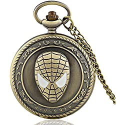 "SPIDERMAN Antique Bronze Effect Retro/Vintage Case Men's Quartz Pocket Watch Necklace - On 32"" Inch / 80cm Chain"