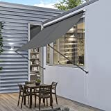 [pro.tec]® Markise - 200 x 120 cm Grau - Sonnenschutz Beschattung Terrasse Garten