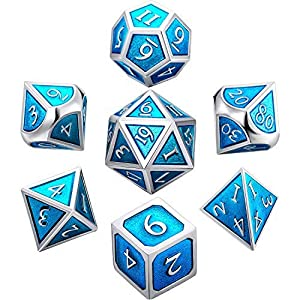 Lvcky Juego de 7 dados de metal DND juego de metal sólido de polietileno sólido D&D Dice Set bolsa de almacenamiento de aleación de zinc esmalte papel juego Dungeons dragones, math Teaching (Cerulean)