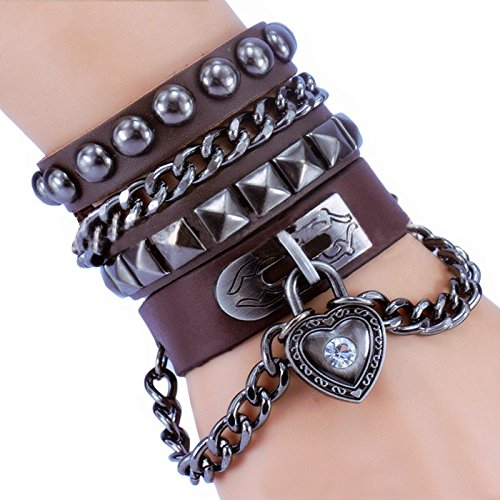 Rivet braccialetto punk rock Multi cerchio i love you Cuore Catena in vera pelle, Unisex per uomini e donne stile nodo dell' amore, base metal, colore: marrone, cod. Heart309