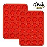 Stampo per muffin in silicone, confezione da 2 pezzi, per 24 muffin, per mini cupcake, colore rosso 24 small cup Red