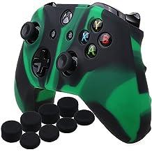 YoRHa silicona caso piel Fundas protectores cubierta para Microsoft Xbox One X y Xbox One S Mando[Después del modelo 8.2016] x 1 (verde negro) Con Pro los puños pulgar thumb grips x 8