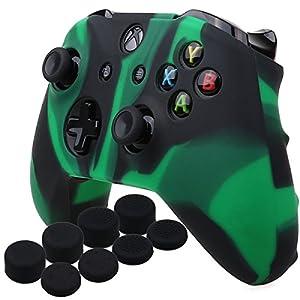 YoRHa Silikon Hülle Abdeckungs Haut Kasten für Microsoft Xbox One X & Xbox One S Controller x 1 (Schwarz Grün) Mit Pro aufsätze thumb grips x 8
