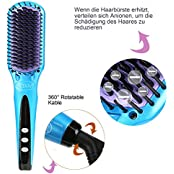 ACEVIVI Ionen Keramik Glättbürste Haarglätter mit Warmluft und LCD EU Stecker Blau,A2565
