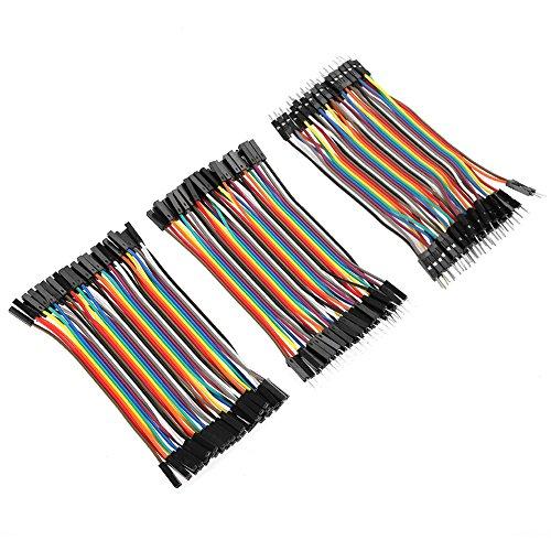 Akozon Cavi Arduino 3pz Jumper Dupont 40 pin Jumper M a F/M a M/F a F Breadboard Jumper Fili di Ponticelli Colorati da 10 cm