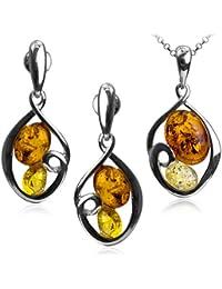Multicolor Amber Sterling Silver Oval Earrings Pendant Set Chain 46cm