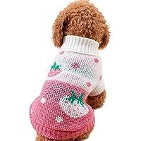 mascotas perros ropa de invierno accesorios Sannysis mascotas ropa navidad gato perro pequeños cachorro suéter punto ropa chaleco chaqueta vestir traje de invierno chihuahua barato (S, Rosa)