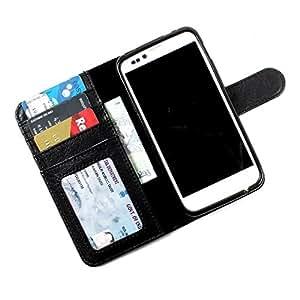 i-KitPit PU Leather Wallet Flip Case Cover For Karbonn A21 (Black)