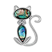 MoGist Shell Craft Series Lovely Cat Christmas Brooch Pin Breastpin Women Xmas Gift Jewellery Brooch