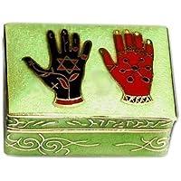 Pillendose mit Hände Motiv Emaille Metall Grün 45 x 30mm preisvergleich bei billige-tabletten.eu