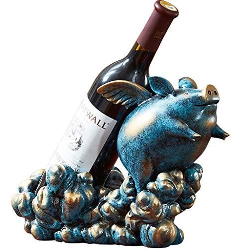 Resina Estante del Vino de múltiples Funciones Creativa Decoración del Gabinete del Vino Adornos Sala de Estar Cocina Estudio Restaurante Artesanía Muebles para El Hogar M+ (Color : Azul)