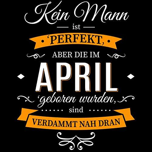 Fashionalarm Herren College Jacke - Kein Mann ist perfekt - April | Varsity Baseball Jacket | Sweatjacke mit Spruch als Geburtstag Geschenk Idee Schwarz / Weiß