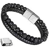Armband Männer Perlenarmband Lava Rock Stein Armband mit Einstellbar Verschluss in Edelstahl 7''- 9 Schwarze Bälle mit Leder