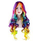 Damen Regenbogen Rainbow Perücke Multi color Bunt Lockig Lang Haar für Kostüm Karneval Halloween Cosplay Party Sexy My Little Pony von Discoball