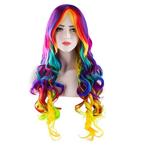 Damen Regenbogen Rainbow Perücke Multi color Bunt Lockig Lang Haar für Kostüm Karneval Halloween Cosplay Party Sexy My Little Pony von Discoball (Lockiges Haar Kostüm Perücken)