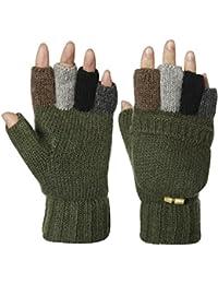 a685c4a784d Kata Wool Blend Knitted Winter Warm Gloves Fingerless Mittens for Men Women