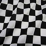 Stoff Meterware Baumwolle Zielflagge Formel 1 Schachbrett Carrera schwarz weiß