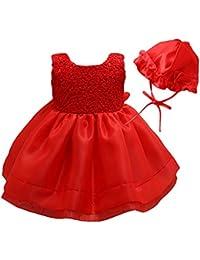 8d18973dd Happy Cherry Bebés Niñas Vestido Encaje Tutú Traje de Fiesta Princesas Dress  con Sombrero para Cumpleaños
