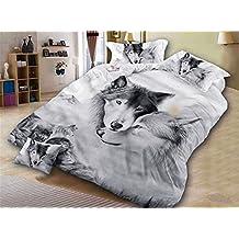 Onlyway - Juego de funda de edredón suave, 3 piezas, diseño de lobo, funda de edredón y funda de almohada impresa en 3D, poliéster, blanco y negro, King duve cover set-220*240cm for 1.8M/2.0M Bed