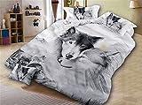 Onlyway Set mit Bettbezug Sets Wolf Bettwäsche-Set für Bett mit Wölfe mit 3d-Bettwäsche- und Kissenbezug, Polyester, schwarz/weiß, Double duvet cover set-200*200cm for 1.5M Bed