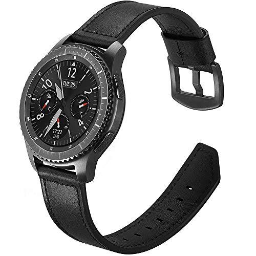 Myada Compatible per Cinturino Samsung Gear S3 Frontier Pelle 22mm Cinturino Samsung Galaxy Watch 46mm, Cinturino Samsung Gear S3 Classic, Braccialetto Ricambio Silicone Polso Band Fascia - Nero