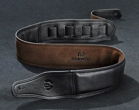 Harvest Fine Leather Guitar Strap Top Grade Nappa 31 001 0017 / 999 kurz schwarz